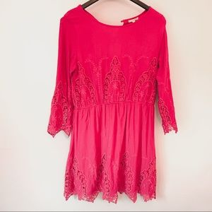 Gianni Bini Fuschia Crochet Lace Dress